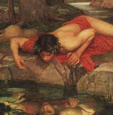 narcissus was a mythological greek dude who fell in love with his reflection in a lake and died because he just couldn't tear himself away from the beautiful sight.  narcissism is a catch all psychological term for anybody who thinks to highly of themselves or any one of your exes.