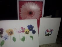 three cards were presented to me, each with a floral theme.  in one of them she wrote that she was retiring.